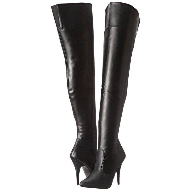 pleaser SEDUCE-3010 zwarte overknee laarzen met naaldhak maat 38 - 39